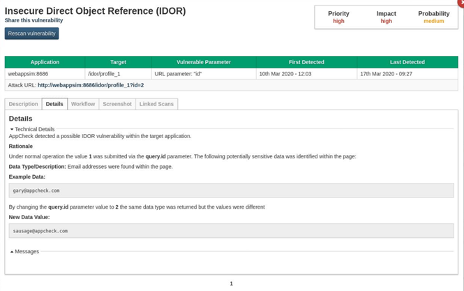 Product Screenshot of Insecure Direct Object Reference Detection Module